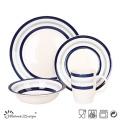 16PCS Blue Kreis Steingut-Dinner-Set