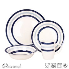 16PCS Blue Kreis Steingut-Dinner-Set