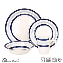 16PCS Blue Circle Stoneware Dinner Set