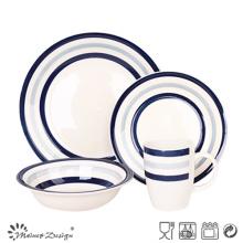 Set de cena de gres Blue Circle de 16 piezas