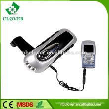 Multi-função 3 led recarregável manivela luz da tocha com carregador do telefone