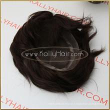 """10 """"Strape 100% indio Remy cabello humano tupé para hombres"""