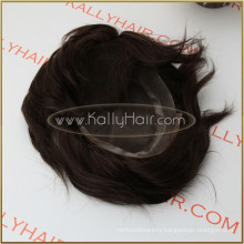 "10"" Straight 100% Indian Remy Human Hair Toupee For Men"