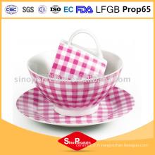 Vaisselle en céramique en porcelaine 3pcs avec tasse en porcelaine design