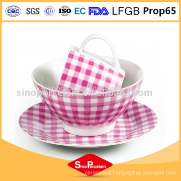 pink and white royal porcelain ceramic tableware with dots porcelain cup