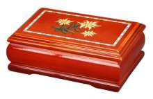 Rectangular Wooden Jewelry Case with Edelweiss Design