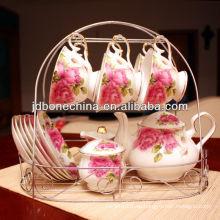15 piezas de diseño de la flor de oro magnífico línea café Set taza y platillo
