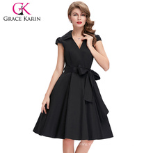 Grace Karin Wholesale Cap Sleeve Cotton Lapel Collar Black Deep V Neck Vintage 1950s Dress CL6087-1