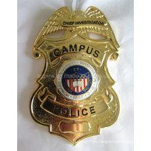 Insignia curvada de la policía de oro del metal con cloisonné de imitación (badge-209)