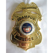 Curved Metal Gold Police Badge with Imitation Cloisonne (badge-209)