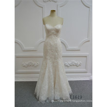 Sexy Lace Trumpet Wedding Dress Champagne Full Length Mermaid Wedding Dresses