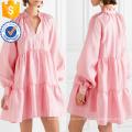 Loose Fit Rosa Tiered Langarm Mini Sommerkleid Herstellung Großhandel Mode Frauen Bekleidung (TA0329D)