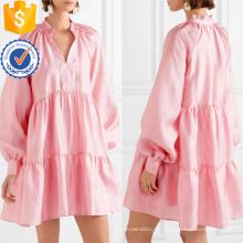 Loose Fit rosa con gradas de manga larga Mini vestido de verano fabricación al por mayor de prendas de vestir de las mujeres de moda (TA0329D)