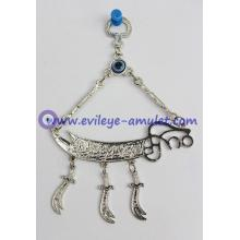 Blue evil eye pendant home decoration metal sword