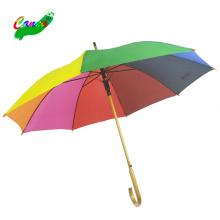 Stick ladies rainbow color wood umbrellas, 8colored the new taiwan rainbow umbrella hat
