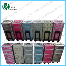 Lovely Makeup Trolley Aluminium Rolling Makeup Train Case