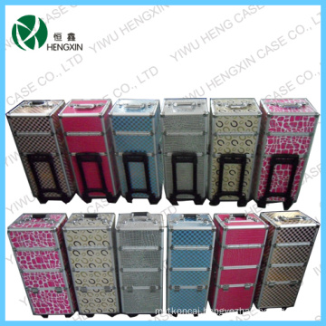 Lovely Makeup Trolley Aluminum Rolling Makeup Train Case