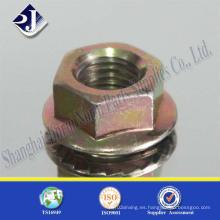 Tuerca de brida hexagonal de zinc amarillo 3+