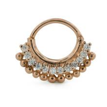 Bague en or nez indien 16G Septum plaqué or bijoux diamant 24K