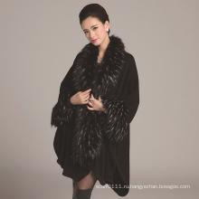 Повелительницы связанный acrylic страуса faux зимний мех шаль (YKY4471)