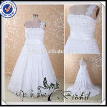 RSW415 mangas de encaje desmontable para la longitud del té más vestidos de novia de tamaño de la falda extraíble