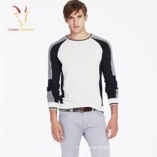 Mens crewneck novo design puro lã camisola de malha longa pullover