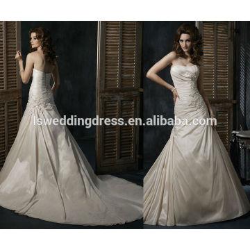 WD0064 с плеча ruched лиф бусы кристаллы и жемчуг украшают половину лиф русалка органзы свадебные платья srapless
