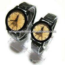 Reloj de lujo de la venda de acero inoxidable de la torre Eiffel de la original del regalo de los pares