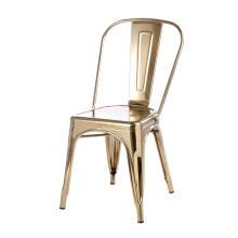 Réplica da cadeira de metal Tolix de jantar empilhável dourada