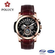 Benutzerdefinierte Echtleder Chronograph Rose Gold Watch für Männer