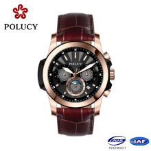 Reloj de oro rosa de encargo del cronógrafo del cuero genuino para los hombres