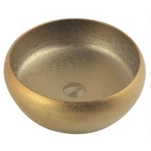 Handmade Gold Color Ceramic Wash Basin for Bathroom