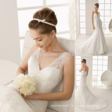 Delicadamente 2014 Branco Marfim Sereia Vestidos de Noiva V-Neck Tribunal Trem Vestidos de noiva da igreja do laço NB009