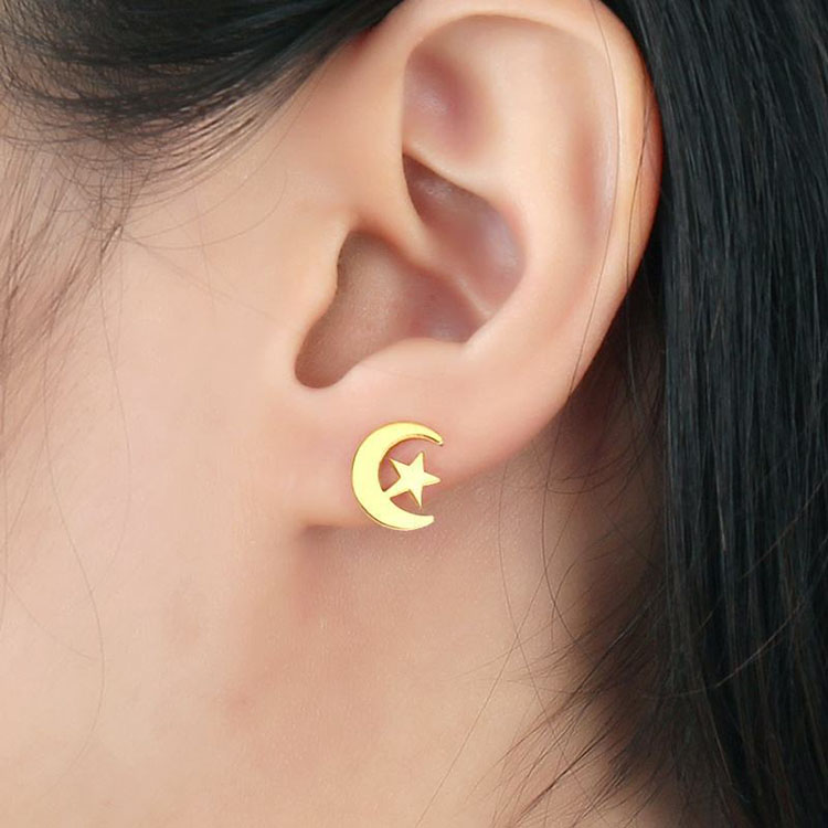 Gold Crescent Moon Stud Earrings