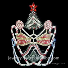 Fancy colored rhinestone christmas tree crown with bell