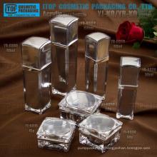 Double couches haute brillance couleur et impression OEM excellente qualité intéressant carré acrylique emballage de cosmétique
