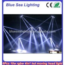 6 x 10W RGBW 4-in-1 led moving head studio lighting