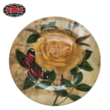 Round Plastic Charger Plate with Roses Printing