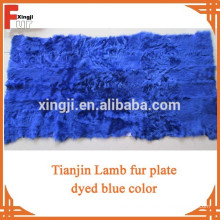 Gefärbte blaue Farbe Top-Qualität Tianjin Lammfell Platte