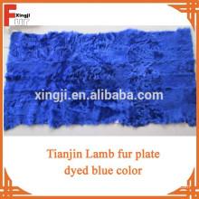 Assiette en fourrure d'agneau tianjin de qualité supérieure teinte en bleu