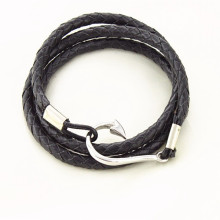 Fish hook bio magnetic leather bracelet wholesales from Runda