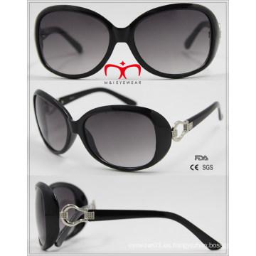 Moda UV400 gafas de sol de señoras de protección con decoración de metal (wsp601540)
