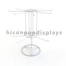 Libre de diseño de mesa de arriba de alambre blanco de 2 capas de 16 ganchos de giro personalizado llavero Display Spinner Rack