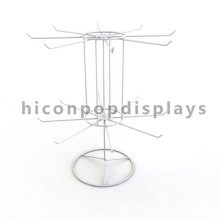 Free Design Table Top White Wire 2-Layer 16 Crochets Custom Rotating Keychain Display Spinner Rack