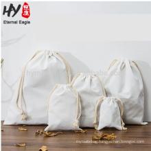 Custom white cotton canvas drawstring storage bag