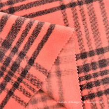 Tecido polar feminino estampado em xadrez listrado tingido