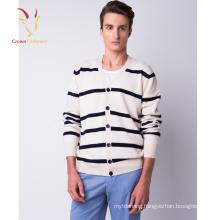 V neck striped Cashmere cardigan men knitwear