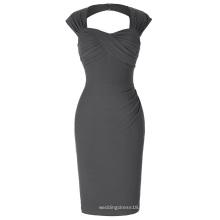 Belle Poque Stock sin mangas ahuecado trasero de nylon de algodón caderas-Wrapped Bodycon gris retro vestido de época BP000155-6