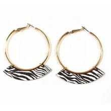 Fashion earrings animal paint  zebra stripes wooden  earrings hoop  women statement earrings