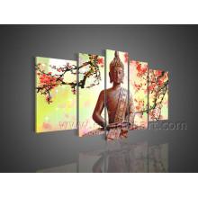 Peinture à l'huile de Bouddha faite à la main sur toile pour le décor (BU-011)